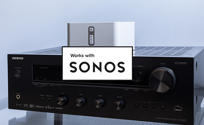 This Onkyo receiver can join your existing Sonos Home Sound System, or be the start of a new one, just by pairing it with a Sonos Connect*. The receiver ties into the Sonos ecosystem, waking, changing inputs, and playing at the desired volume on command from the Sonos app*.