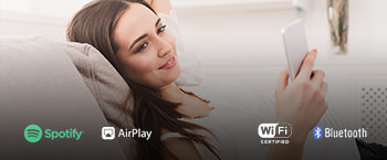 Access streaming content from Amazon Music, Pandora®, Spotify®, TIDAL, Deezer, and TuneIn and share sound as part of a multi-room system via Works with Sonos, Chromecast built-in*, AirPlay 2, DTS Play-Fi®, and FlareConnect.