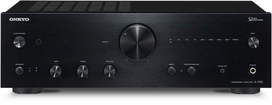 onkyo a9150 2 channel amplifier front view