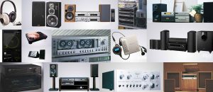 Collage of various vintage audio products including headphones, turntables tape decks, and speakers.