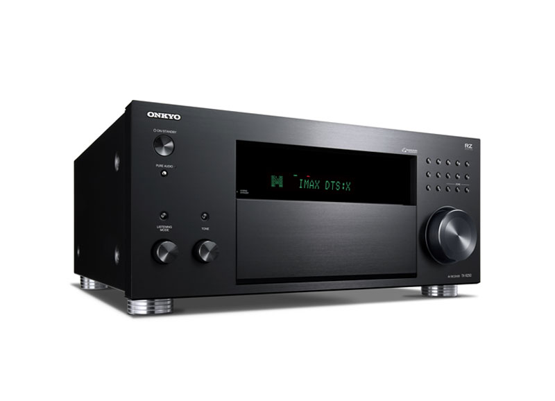 TX-RZ50 AV Receiver Front Right Facing View with IMAX DTS:X Display