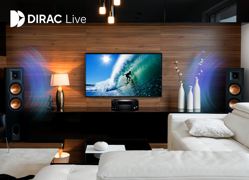 TX-RZ50 AV Receiver in a modern living room with Klipsch home theater system with sound waves and the DIRAC Live logo