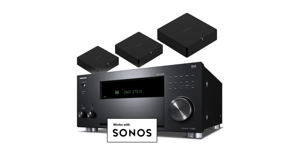TX-RZ50 AV Receiver left angle view with Sonos Port examples overhead